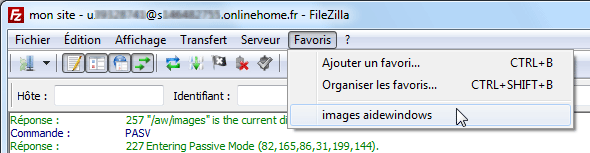 FileZilla : Ajouter Favori