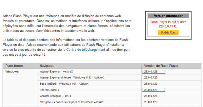 Mise à jour de Flash Player
