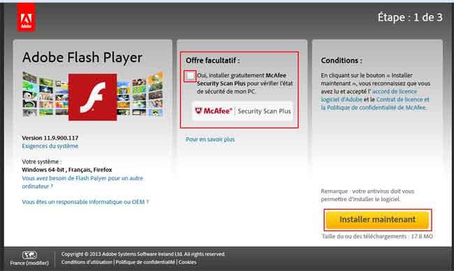 aider à installer adobe flash player gratuitement