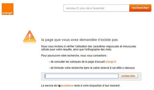 Orange La Page Que Vous Avez Demande Nexiste Pas