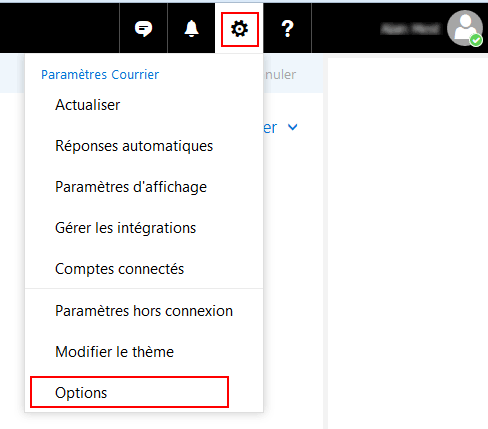 Outlook.com : Paramètres, Options