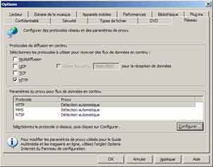 Problème de lecture en streaming avec Windows Media Player