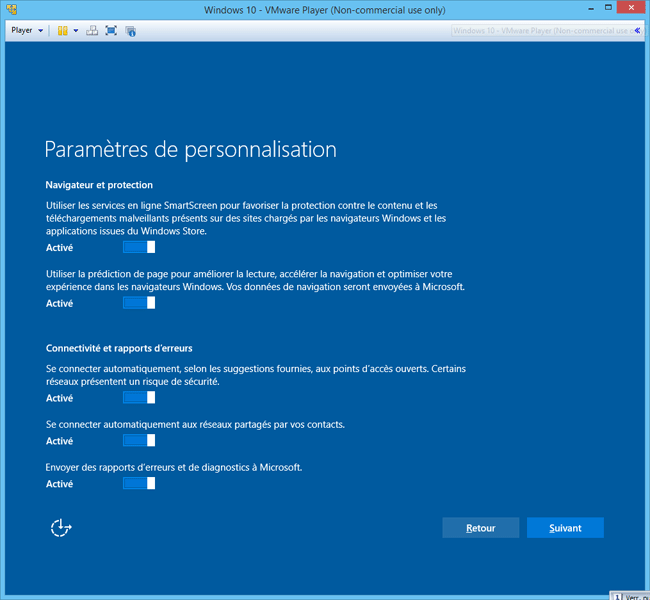 Windows 10 - Installation - Personnalisation