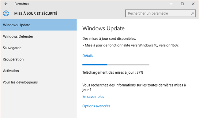 Windows 10 - Mise à jour 1607