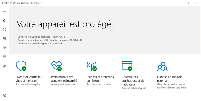 Windows 10 : Centre de sécurité Windows Defender