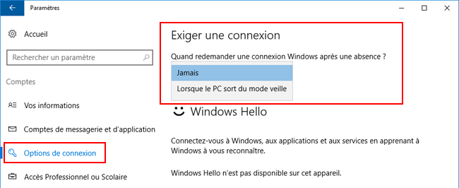 Windows 10 - Options de connexion