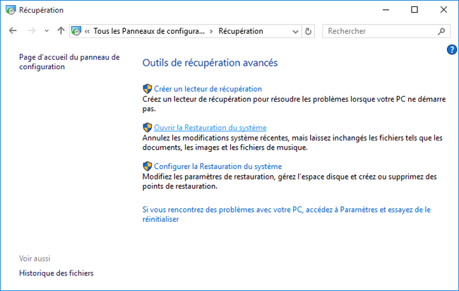 windows 10 points de restauration