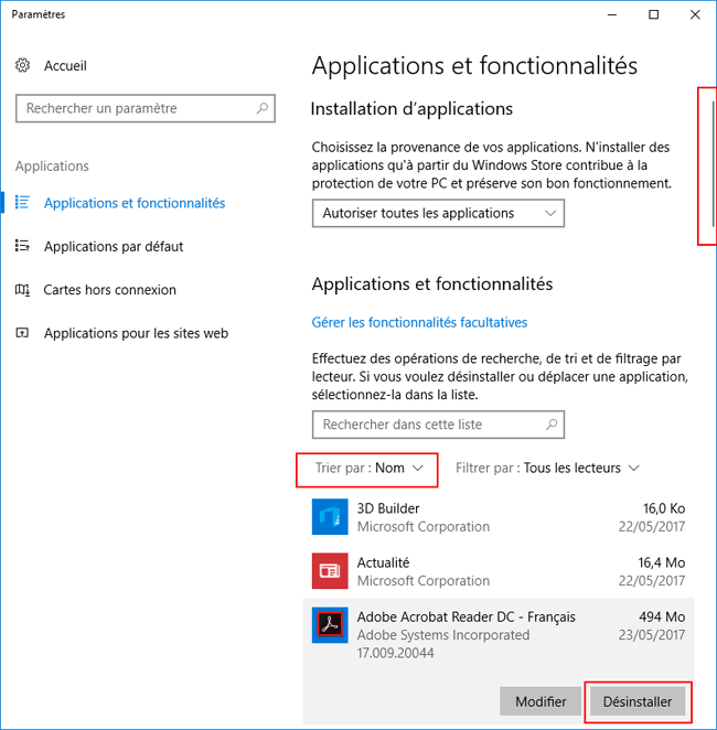 Windows 10 Creator Update - Applications et fonctionnalités
