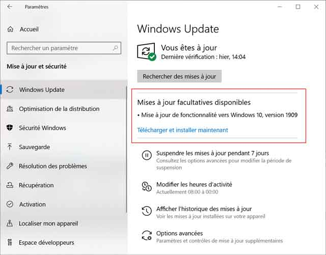 Windows 10 - Mise à jour 1909