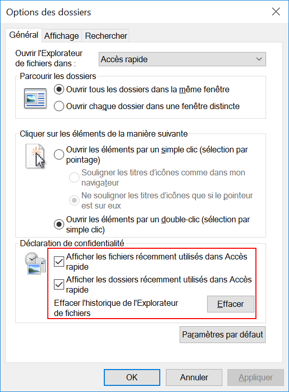 Windows 10 - Options des dossiers