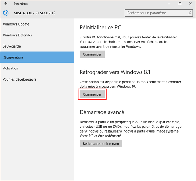Rétrograder vers Windows 8.1