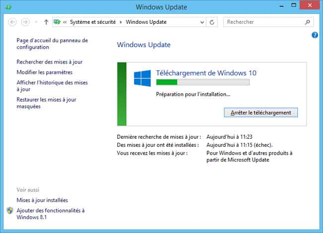 Windows 10 - Téléchargement