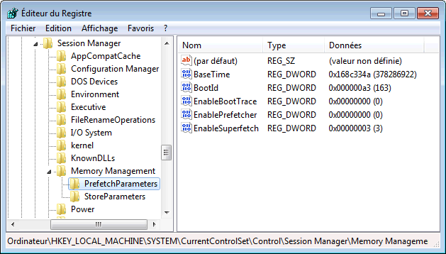 PrefetchParameters sous Windows 7