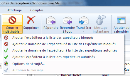 Courrier indésirable dans Windows Live Mail