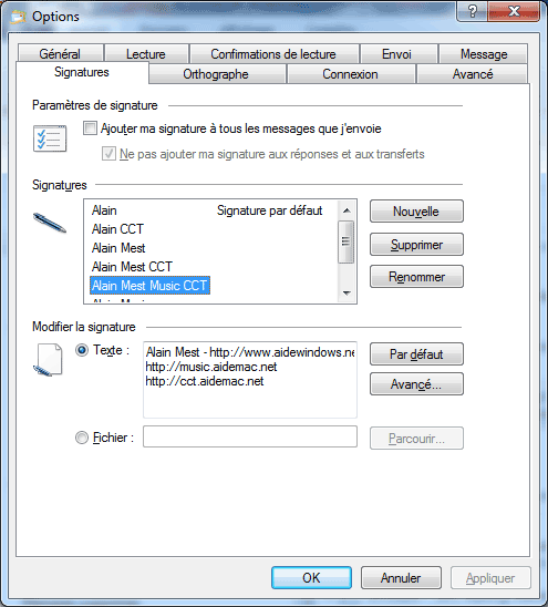 Windows Live Mail : Options, Signatures