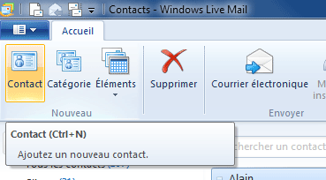 Windows Live Mail : Contacts
