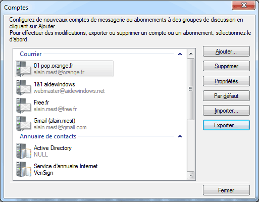 Mail : Exportation comptes de messagerie