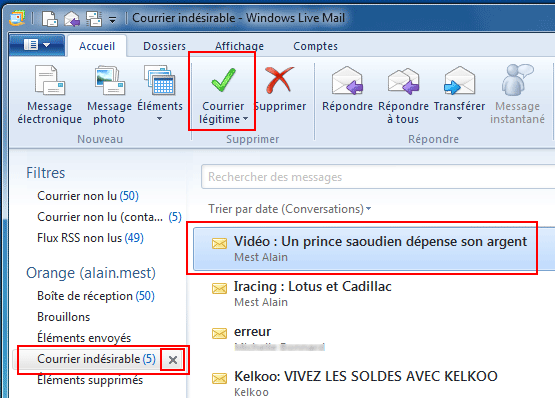 Windows Live Mail : Courrier indésirable
