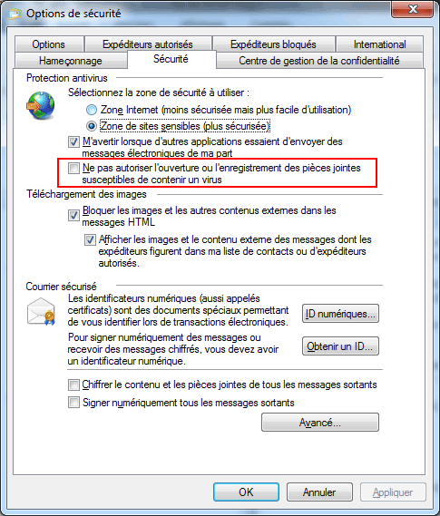 Windows Live Mail : Options de sécurité
