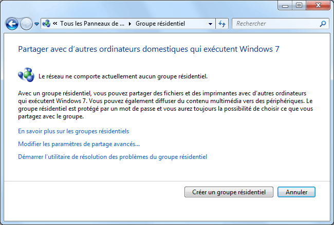 Windows 7 : Groupe résidentiel
