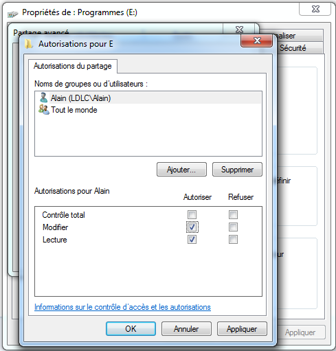 Windows 7 : Partage partition