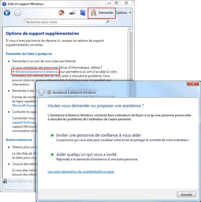 Windows 7 : Assistance à distance