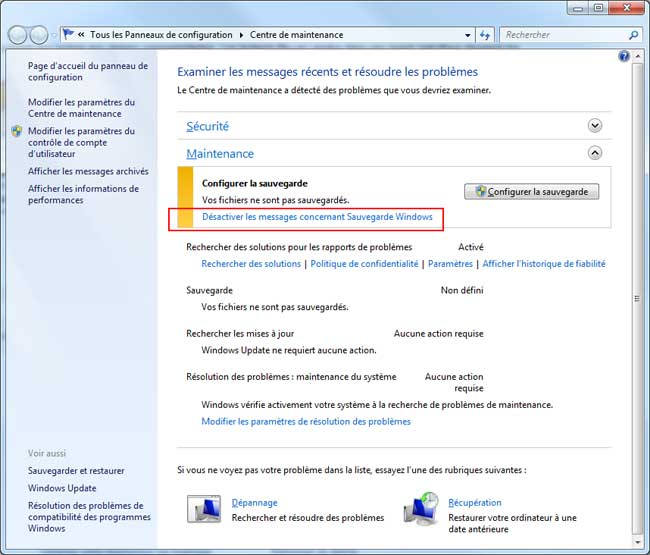 comment arreter sauvegarde windows 7