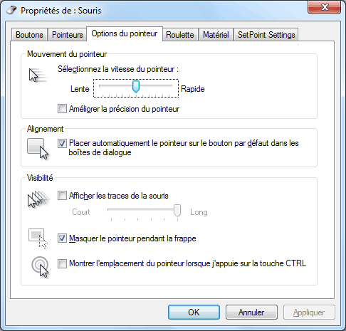 Windows 7 - Options du pointeur