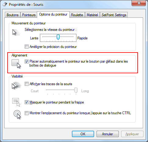 Windows 7  - Souris - Options du pointeur