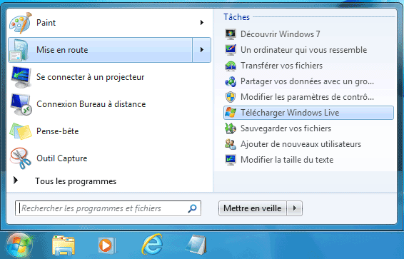 Mise en Route, Télécharger Windows Live