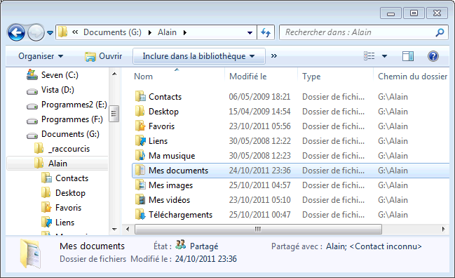 Windows 7 : Déplacer Documents