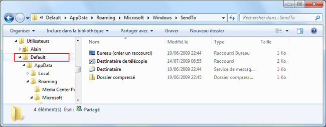 Windows 7 : Commande SendTo
