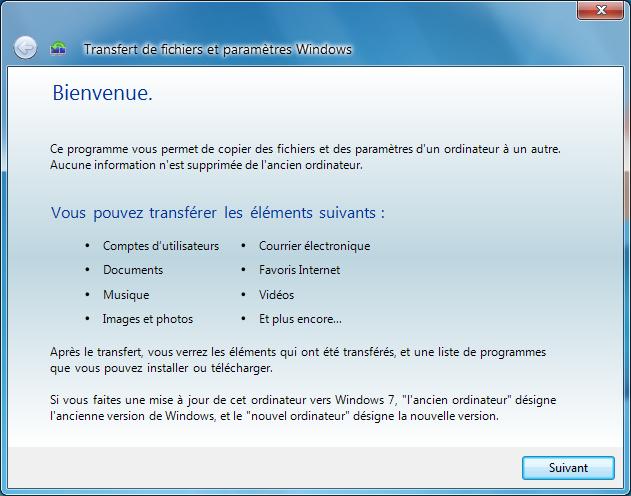 transférer données windows