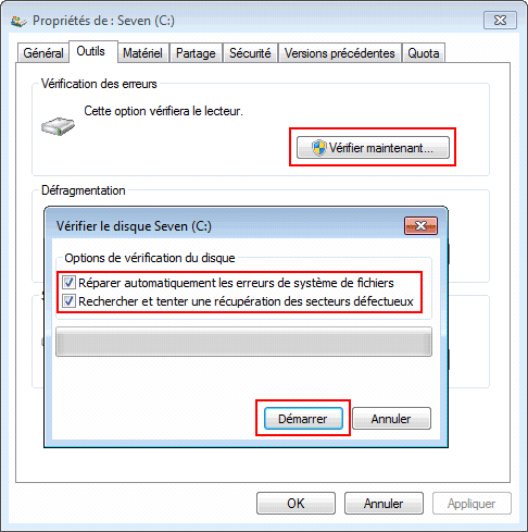 Windows 7 : Vérification du disque dur