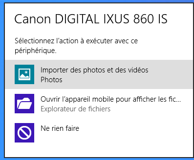 Windows 8 : Branchement de l'APN