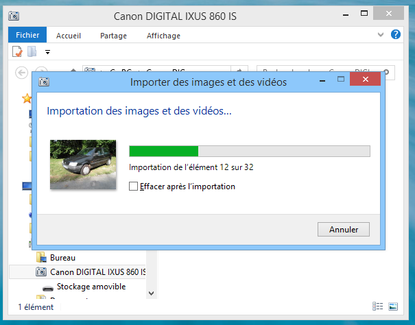 Windows 8 : Importation des photos