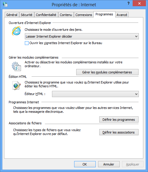 Internet Explorer 10 : Options Internet