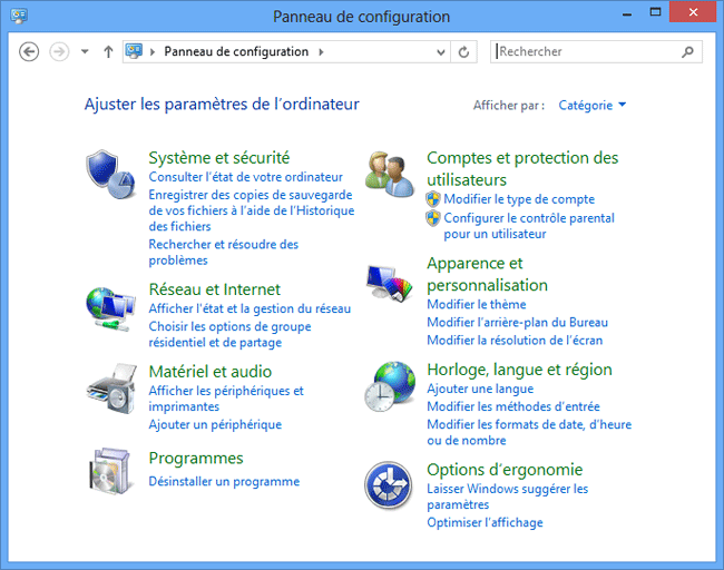 Windows 8 : Panneau de configuration