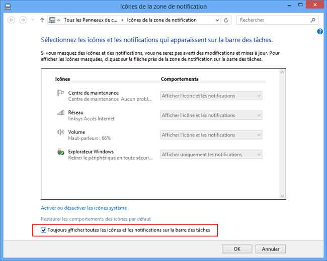 Windows 7 - Zone de notification