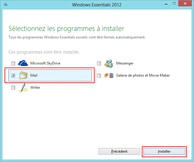 Installation Windows Live Mail