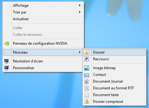 Windows 8 : Nouveau dossier