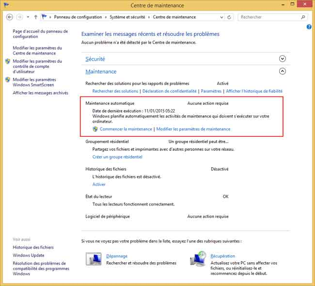 Windows 8.1 : Centre de maintenance