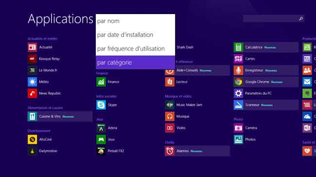 Windows 8.1 - Ecran d'accueil - Applications