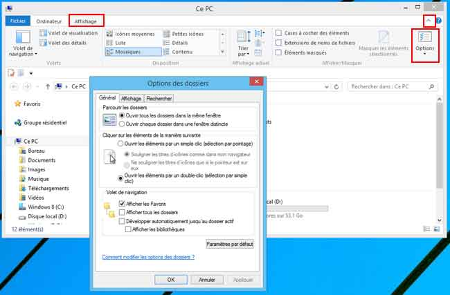 Windows 8 : Option des dossiers