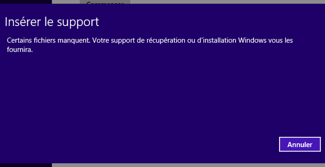 Windows 8.1 : Restauration système impossible
