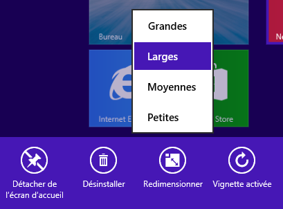 Windows 8.1 : Taille des tuiles