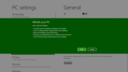 Windows 8 : Reset et Refresh