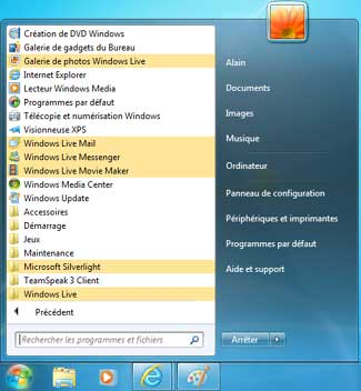 Menu Démarrer avec Windows Live 2011