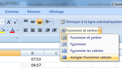 Excel 2007 : Fusionner cellules