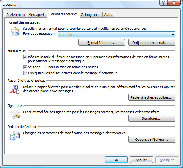 Outlook 2007 : Format du texte